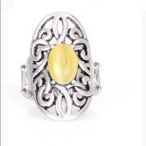 Yellow and Silvertone Ring